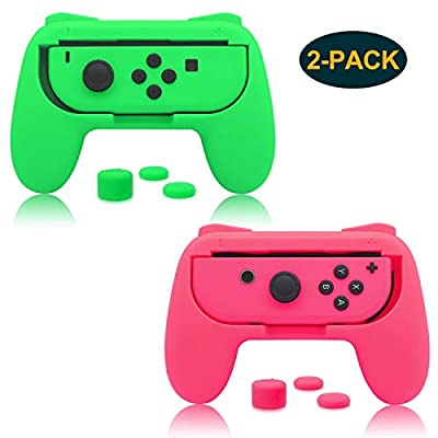 FastSnail Grips for Nintendo Switch Joy-Con, Wear-resistant Handle Kit for Nintendo Switch Joy Cons Controller with 6 Thumb Grips (Green and Pink).