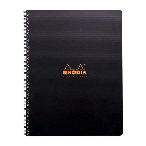 Rhodia 119920C Notizbuch (mit Doppelspiralbindung, 4-farbiger Rand, gelocht, kariert, mikroperforiert, 90 g, DIN A4, 21 x 29,7 cm, 80 Blatt) 1 Stück schwarz