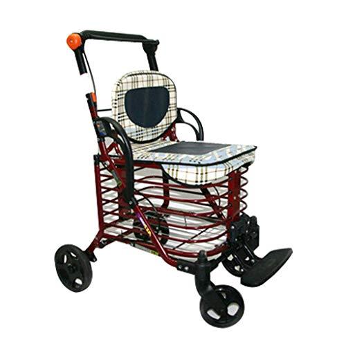 JYTBD YUN TAO Opvouwbare Oude Man Winkelwagen, Lichtgewicht Met Stoel Draagbare Trolley, Rolstoel Dual-gebruik