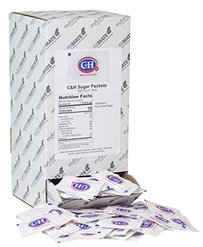 C&H Pure Cane NON-GMO Granulated Sugar, 0.10 Ounce (2.83 Gram) Packets, Pack of 400 in Dispenser Box