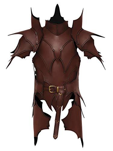Andracor - Martialische handgefertigte Lederrüstung mit Schultern, Klingenbrechern & Beintaschen - Braun - LARP Mittelalter, Fantasy & Cosplay