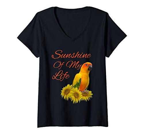 Damen Sun Conure Papagei Sonnenschein Sonnenblume T-Shirt mit V-Ausschnitt