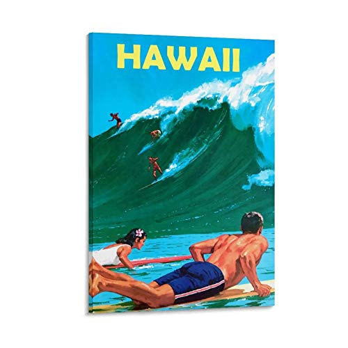 QWFS Póster de surf de Hawai, lienzo decorativo para pared, para sala de estar, dormitorio, 20 x 30 cm