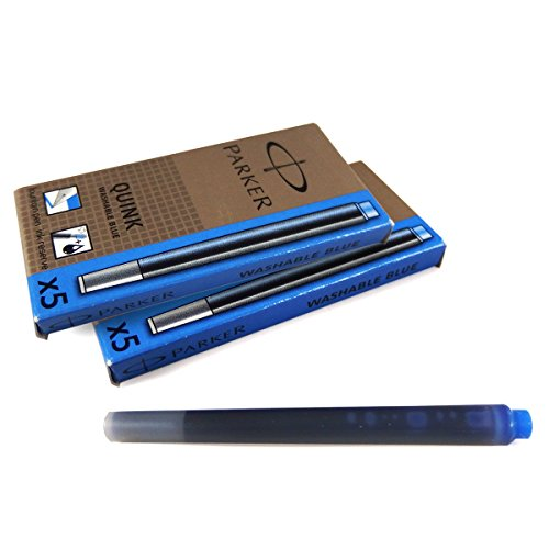 パーカー PARKER クインク QUINK カートリッジ インク リフィル ウォッシャブル ブルー(青) 5本入り×2箱セット S0116210 (S1162230)