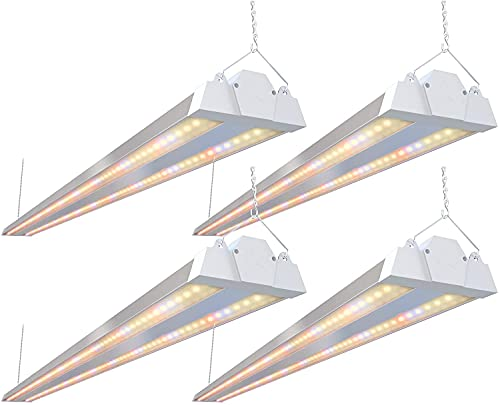 FREELICHT 4 Pack 4ft LED Grow Light , 60W(220W Equivalent), Sunlike Full Spectrum Integrated Plant Light for Hydroponic Indoor Plant Seedling Veg and Flower, Plug in with On/Off Switch