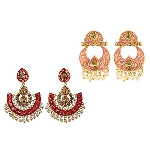Efulgenz Combo of Indian Bollywood Antique Wedding Faux Pearl Crystal Kundan Dangle Chandelier Earrings Jewelry Set (Set of 2)