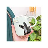 Tazze in ceramica del fumetto tazze con coniglio in rilievo con cucchiaio del coperchio, ufficio tazza di uffici drinkware coppia tazze da caffè tazze da caffè Regali di fidanzamento della tazza di ca