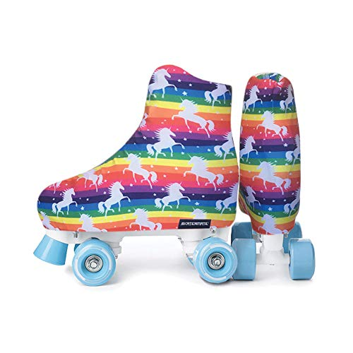 Skatermate Rollschuhe, Schlittschuhe, Inlineskates Stiefelüberzüge, Einhorn Regenbogen Print, ein Paar, One Size, Unicorn Rainbow