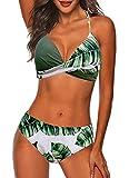 CheChury Bikini Mujer Elegante Traje de Baño Conjunto Bañador Estampado Bañador Halter Mujer Ropa de Playa Traje de Baño Bikini Sets,Verde,XL
