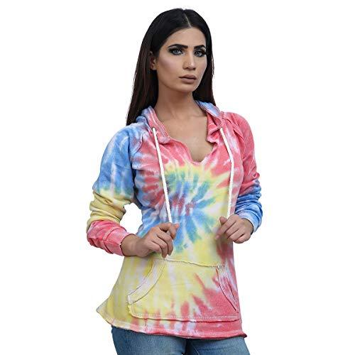 Kara Hub Tie Dye Pullover Hoodie for Men and Women Pastel Fleece Hooded Sweatshirt (V-Notch Red Blue, Small)