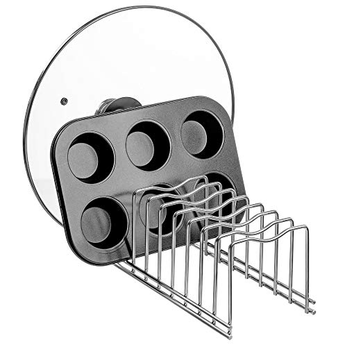 Slideep Lid Organizer Kitchen Dish Plate Storage Organizer and Drying Rack Bakeware Pot Lid Rack Holder Organizer Pantry and Cabinet Holder