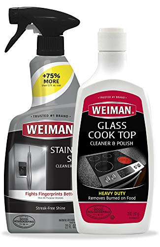 Weiman Stainless Steel Cleaner & Cooktop Heavy Duty Polish - Powerful Appliance Kitchen Cleaning Kit
