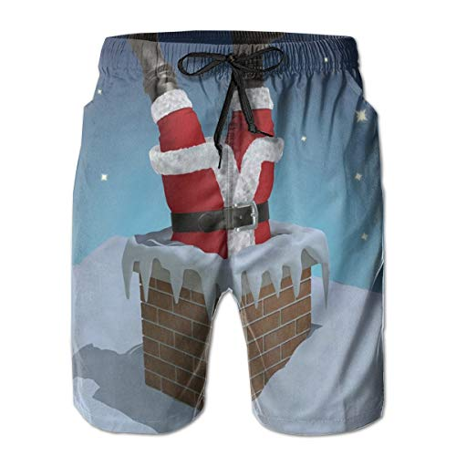 Men's Swim Trunks Board Shorts Beach Pants Surfing Boardshorts,Father Christmas Stuck in The Chimney on Snow Covered Rooftop and Starry Night Sky,Fancy Print Hawaiian Shorts Four Size,XX-Large
