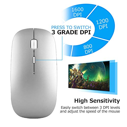 New [Upgraded] Slim Wireless Mouse, 2.4G Silent Laptop Mouse with Nano Receiver, Ergonomic Wireless Mouse for Laptop, Portable Mobile Optical Mice for Laptop, PC, Computer, for Notebook Mac (Silver)