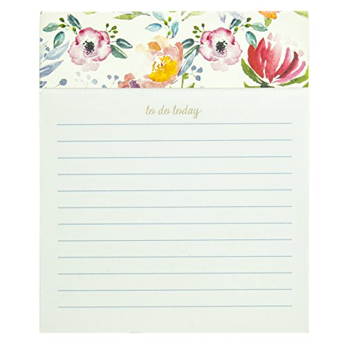 """Graphique Jotter Notepad, Floral Stripe – 4.5"""" x 5.5"""" x 1"""" Notepad with 250 Ruled Perforated Pages, Decorative Memo Pad for Leaving Messages and Taking Notes"""