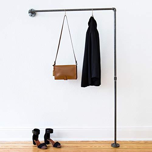 Various Kleiderstange Industrial Design - div. Größen, z.B. 100 x 155 x 12 cm - Wand-Garderobe für Jacken in L-Form - Wandmontage Links o. rechts - schwarz, Metall