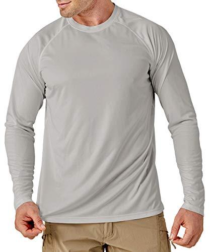 MAGCOMSEN Jogging Shirts Herren UV Schutz Langarm Shirt Quick Dry Trainingsshirt Herren Atmungsaktiv Fitness Shirt Outdoor Sport T-Shirt für Angeln Wandern Hellgrau S
