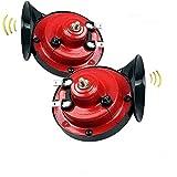 loud air electric snail double horn raging sound, train horn for trucks the loudest horn ever,2020 new generation electric snail horn for cars,Dual-tone Snail Air Horn Siren (2 pairs)