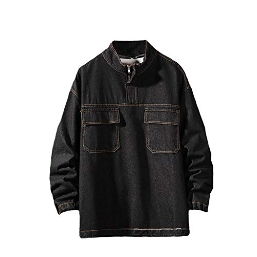 Uqiangy Men's Autumn Fashion Casual Large Size Tooling Jacket Denim Jacket Top Blouse(Black,XXXXXL)