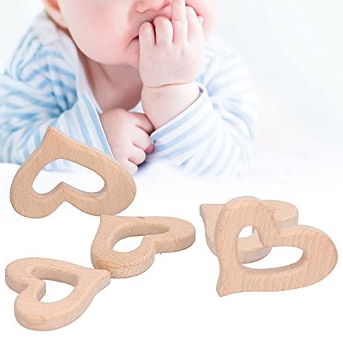 Colgante de corazón de madera, ayuda a reducir la incomodidad de los dientes del bebé pulido naturalmente hecho de madera de haya de alta calidad Colgante de madera para el hogar para bebés