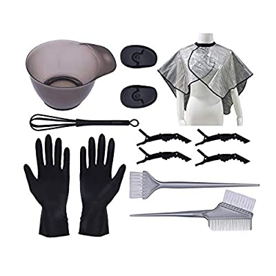 SARMOCARE DIY Hair Dye Coloring Beauty Tool Kit, Hair Coloring Cape, Dyeing Brush and Comb, Hair Tinting Bowl, Rubber Ear Cover, Hand Cover,Hair Dye Hairpin for DIY Salon Hair Dye Tool