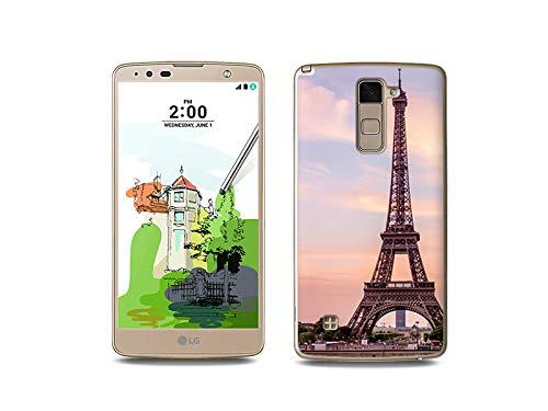 etuo Handyhülle für LG Stylus 2 Plus - Hülle, Silikon, Gummi Schutzhülle - Eiffelturm in Paris
