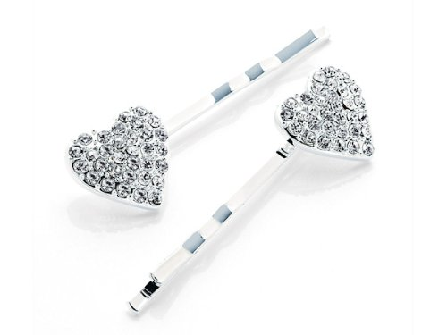 2 Silver Crystal Diamonte Heart Hair Grips Pins Clips Slides Bridal Prom