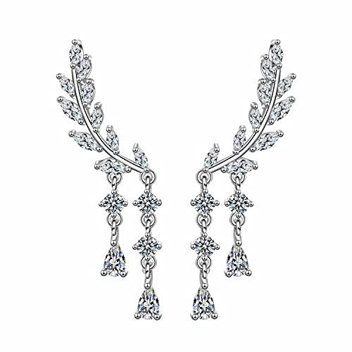 Pendientes de borla para mujer con diseño de lágrimas y diamantes