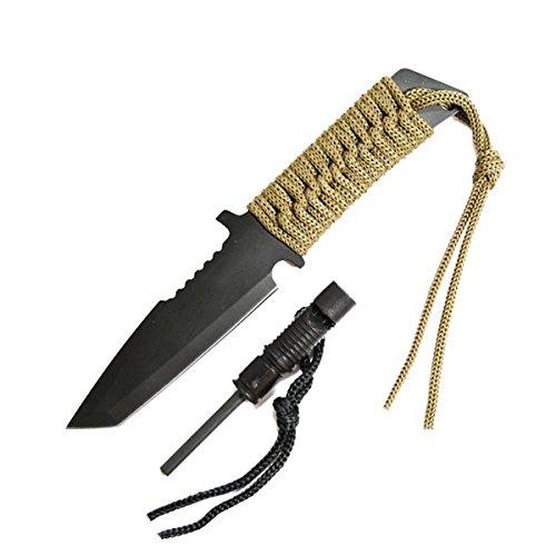 g8ds® Outdoormesser Fahrtenmesser Intrepid schwarz inkl. Etui Pfeife Zündstein multifunktional FB-Intrepid