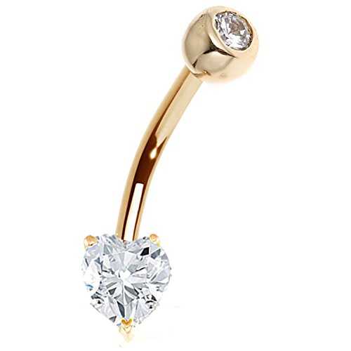 Ritastephens 14k Solid Yellow Gold Heart Cubic Zirconia Bezel Navel Belly Ring