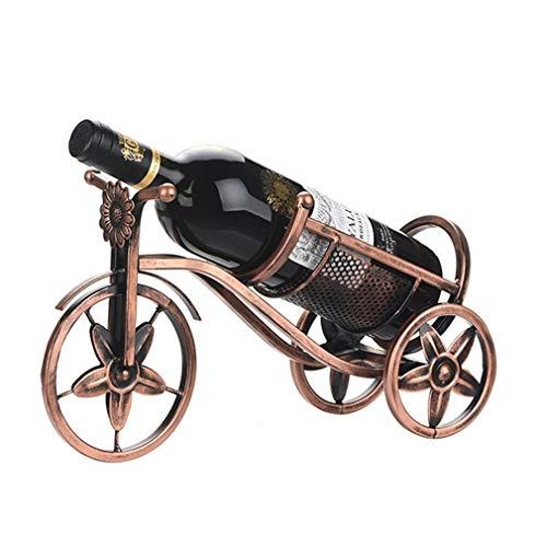 Soporte para botellero de hierro, soporte para botella de vino de hierro, soporte para botella de vino individual, soporte para vino con estilo vintage para decoración del hogar (33.5 * 12 * 19.5cm)