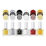 Estampacion Esmalte de uñas, de Born Pretty, de color brillante, para impresión, para usar con plantillas, 6 ml