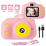 Kids Camera, 1080P 8MP Selfie Digital Kids Camera for Girls with 32GB SD Card Children Video Camera Birthday/Christmas/New Year Toy Gifts for 3 4 5 6 7 8 9 10 Year Old Girls (Pink)
