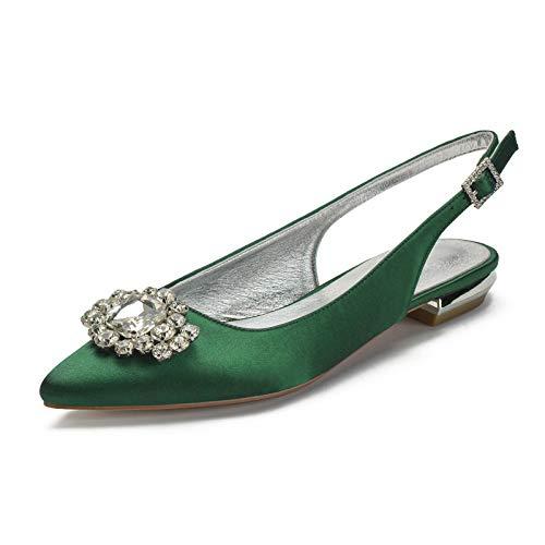 Charmstep Mujeres Bailarinas De Boda Puntiagudas Slingback Hebilla Rhinestones Satén Zapatos De...