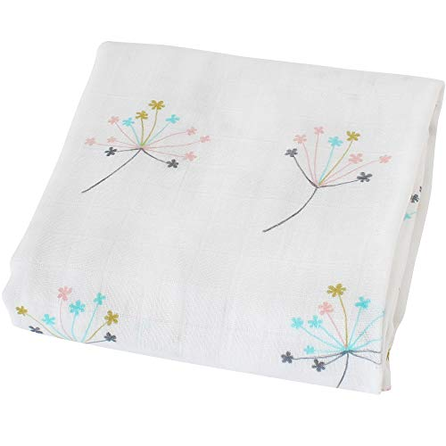 LifeTree Baby Musselin Swaddle Decke Tücher - 120x120 cm Löwenzahn Design Baby Bambus Baumwolle Swaddle Wrap, Aufstoßen Tuch & Deck Kinderwagen - Pucktücher für Junge und Mädchen