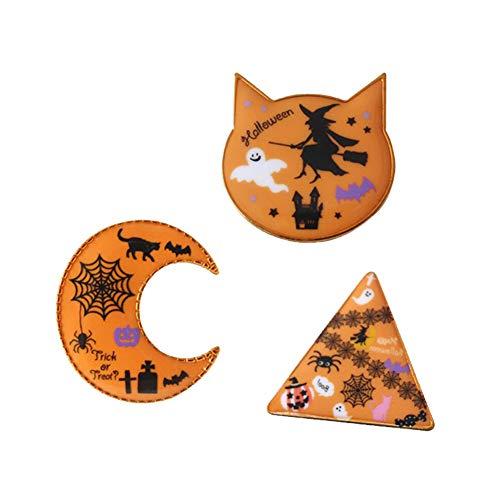 Gudeke 3 Teile/Satz Halloween Brosche Kreative Dreieck Mond Katze Kopf Form Kürbis Geist Spinnennetz Hexe Emaille Pin