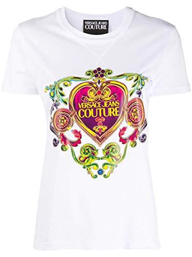 Versace Jeans Couture T-Shirt für Damen weiß mit mehrfarbigem Druck B2HVB7E0-VDM613 6 Textilien 30311 003 Jersey ESB24/1 (5), Weiß Medium