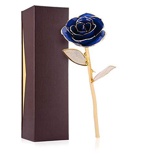 Dioche - Rosa artificial de oro de 24 quilates, amor eterno, el mejor regalo romántico para ella/novia/mamá/padres/abuela/profesora (azul)