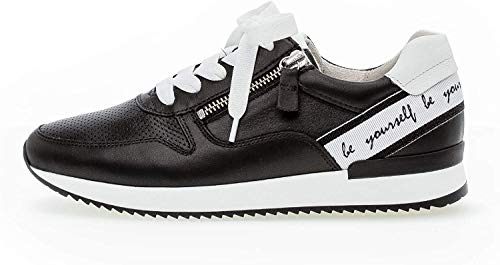 Gabor Damen Sneaker, Frauen Low-Top Sneaker,Best Fitting,Reißverschluss,Optifit- Wechselfußbett, sportschuh weibliche,schwarz/Weiss,41 EU / 7.5 UK