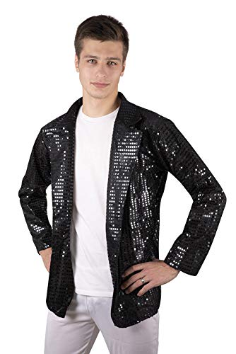 P'TIT CLOWN 66657 Veste Adulte Homme Disco Sequins - Noir, S/M