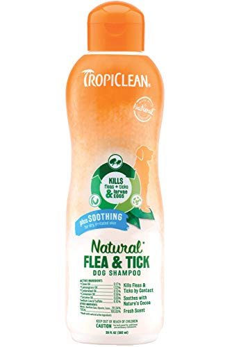 TropiClean Natural Flea & Tick Soothing Shampoo for Dogs, 20oz - Made in USA
