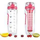 Opard Fruit Infuser Water Bottle with Time Marker, 30 oz BPA Free Infuser Water Bottles with Folded Carry Handle, Leak-Proof Flip Top Lid, Full Length Infusion Rod, Dual Anti-Slip Grips (Red)