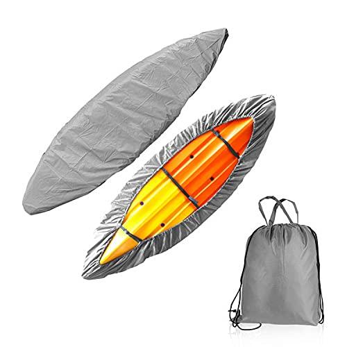 N\C Cubierta protectora para kayak, impermeable, protección contra el polvo, protección solar, adecuada para canoas, kayaks y barcos de pesca, color plateado adecuado para kayaks de 8 a 3 m