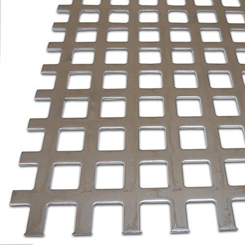 B&T Metall Edelstahl V2A Lochblech Zuschnitt, blank gewalzt | 1,5mm stark | Quadratlochung 10x10mm gerade QG 10-15 | Größe 25 x 25 cm (250 x 250 mm)