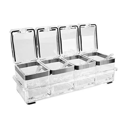 4 Stück Küche Transparent Acryl Gewürz Box Vier In One Gewürzdosen Mit Löffeln Und Gewürzbehälter, Küche Gewürzbox Set Mit Löffeln Und Abdeckungen, Gewürzbehälter, Küchenutensilien Transparent