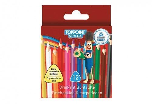 12 Mini Dreikant Buntstifte Malstift Farbstift