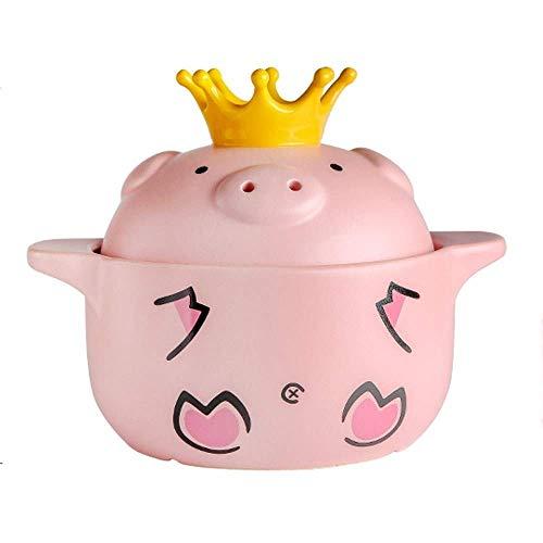 Cvghnfk Kasserolle Rosa reizendes Schwein Auflauf, Keramik Haushalt mit doppeltem Griff Cooker Dutch Pot Kochen Reis Hühnersuppe The New (Size : A11.22in)