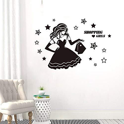 XCSJX Moda niña de Compras Tienda de Ropa calcomanía de Pared Estrella Vinilo decoración del hogar Dormitorio extraíble Ventana Decorativa Mural de Vidrio 68x98 cm