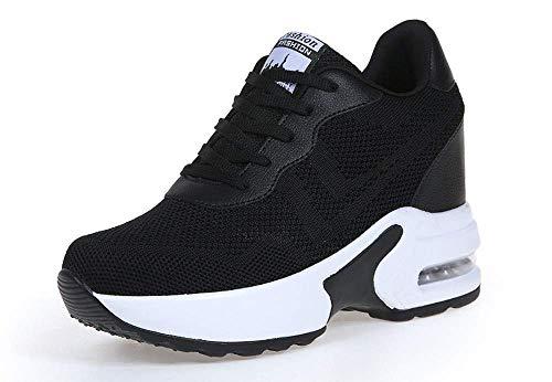 AONEGOLD Dames Sneakers Sleehak Lichtgewicht Sportschoenen Wedge Sneakers Casual Joggen Wandelen Schoenen Vrouw Sneakers Zwart 3 34 EU