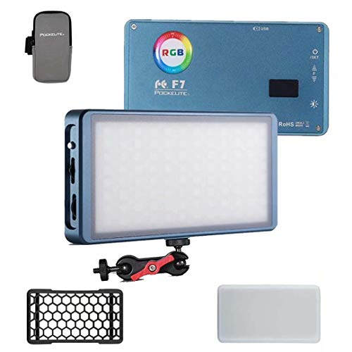 Falcon Eyes F7 RGB LED Mini Pocket On Camera Light 2500K-9000K Bi Color with Magnet Adsorption Function and Honeycomb Frame for Video/Photo/Product Photography